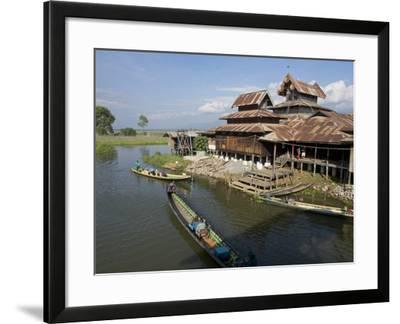 Tourists Arrive by Boat at Monastery on Inle Lake, Shan State, Myanmar (Burma)-Julio Etchart-Framed Photographic Print