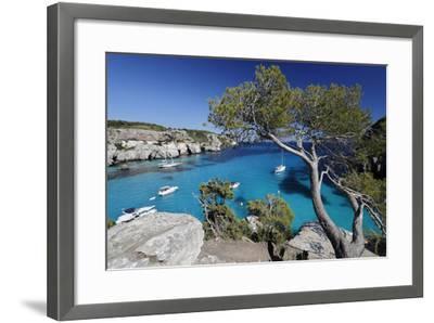 Yachts Anchored in Cove, Cala Macarella, Near Cala Galdana-Stuart Black-Framed Photographic Print
