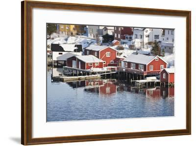 Wooden Cabins at the Waters Edge in the Town of Raine in the Lofoten Islands, Arctic, Norway-David Clapp-Framed Photographic Print