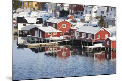 Wooden Cabins at the Waters Edge in the Town of Raine in the Lofoten Islands, Arctic, Norway-David Clapp-Mounted Photographic Print