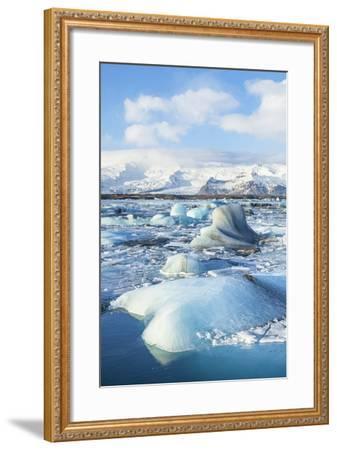 Mountains Behind the Icebergs Locked in the Frozen Water of Jokulsarlon Iceberg Lagoon-Neale Clark-Framed Photographic Print