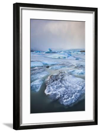 Frozen Icebergs in the Frozen Waters of Fjallsarlon Glacier Lagoon, South East Iceland, Iceland-Neale Clark-Framed Photographic Print