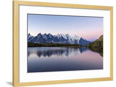 Mont Blanc Reflected During Twilight in Lac Des Cheserys, Haute Savoie, French Alps, France-Roberto Moiola-Framed Photographic Print
