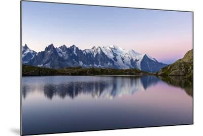 Mont Blanc Reflected During Twilight in Lac Des Cheserys, Haute Savoie, French Alps, France-Roberto Moiola-Mounted Photographic Print