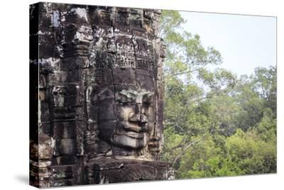 Buddha Face Carved in Stone at the Bayon Temple, Angkor Thom, Angkor, Cambodia-Yadid Levy-Stretched Canvas Print