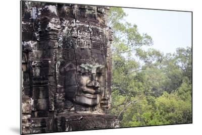Buddha Face Carved in Stone at the Bayon Temple, Angkor Thom, Angkor, Cambodia-Yadid Levy-Mounted Photographic Print