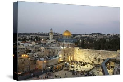 View over the Western Wall (Wailing Wall) and the Dome of the Rock Mosque, Jerusalem, Israel-Yadid Levy-Stretched Canvas Print