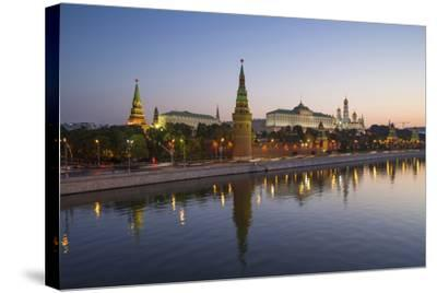 Kremlin Churches and Towers from Moscow River Bridge, Moscow, Russia-Gavin Hellier-Stretched Canvas Print