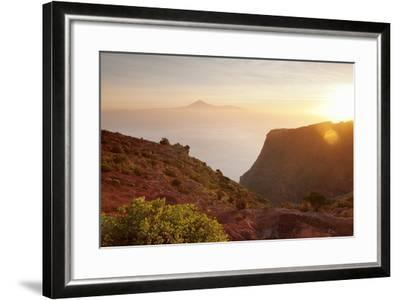 View from Gomera to Tenerife with Teide Volcano at Sunrise, Canary Islands, Spain, Atlantic, Europe-Markus Lange-Framed Photographic Print
