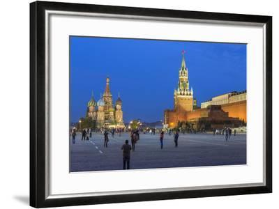 St. Basils Cathedral and the Kremlin in Red Square, Moscow, Russia-Gavin Hellier-Framed Photographic Print
