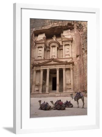 Camels in Front of the Treasury, Petra, Jordan, Middle East-Richard Maschmeyer-Framed Photographic Print