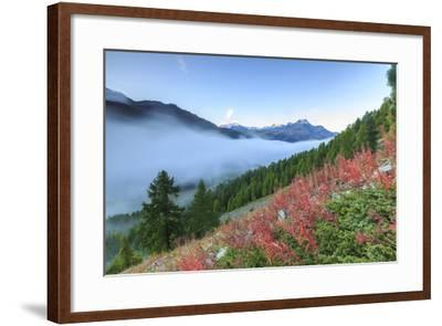 Autumn Mist Dissolving and Revealing the Top of Piz La Margna Towering over Peaks of Engadine-Roberto Moiola-Framed Photographic Print