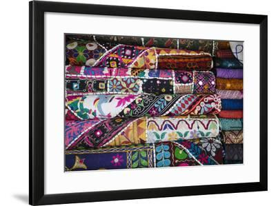 Colourful Hand Woven Fabrics at Mapusa Market, Goa, India, Asia-Yadid Levy-Framed Photographic Print