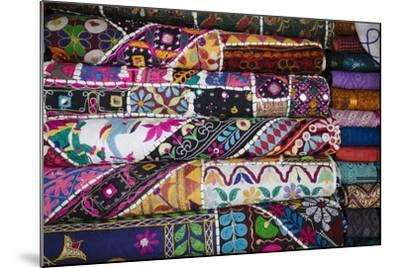 Colourful Hand Woven Fabrics at Mapusa Market, Goa, India, Asia-Yadid Levy-Mounted Photographic Print