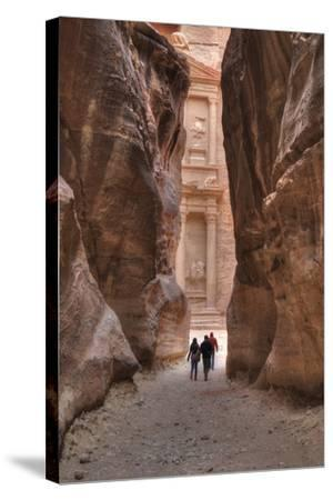 Tourists Approaching the Treasury from the Siq, Petra, Jordan, Middle East-Richard Maschmeyer-Stretched Canvas Print