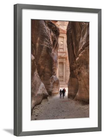 Tourists Approaching the Treasury from the Siq, Petra, Jordan, Middle East-Richard Maschmeyer-Framed Photographic Print