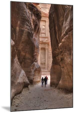 Tourists Approaching the Treasury from the Siq, Petra, Jordan, Middle East-Richard Maschmeyer-Mounted Photographic Print
