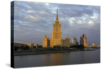 Moskva River and Hotel Ukraine-Gavin Hellier-Stretched Canvas Print