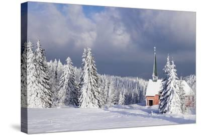 Winter Landscape with Church, Kandel Mountain, Black Forest, Baden-Wurttemberg, Germany, Europe-Markus Lange-Stretched Canvas Print