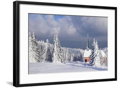 Winter Landscape with Church, Kandel Mountain, Black Forest, Baden-Wurttemberg, Germany, Europe-Markus Lange-Framed Photographic Print
