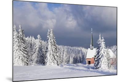 Winter Landscape with Church, Kandel Mountain, Black Forest, Baden-Wurttemberg, Germany, Europe-Markus Lange-Mounted Photographic Print