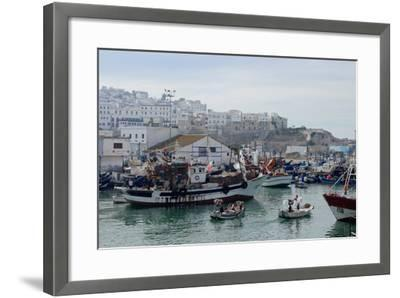 Fishing Boats Leaving Tangier Fishing Harbour, Tangier, Morocco, North Africa, Africa-Mick Baines & Maren Reichelt-Framed Photographic Print