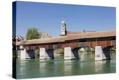 Historical Wooden Bridge and Cathedral (Fridolinsmuenster)-Markus Lange-Stretched Canvas Print