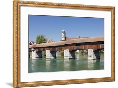 Historical Wooden Bridge and Cathedral (Fridolinsmuenster)-Markus Lange-Framed Photographic Print