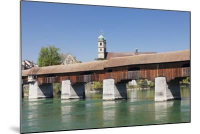 Historical Wooden Bridge and Cathedral (Fridolinsmuenster)-Markus Lange-Mounted Photographic Print