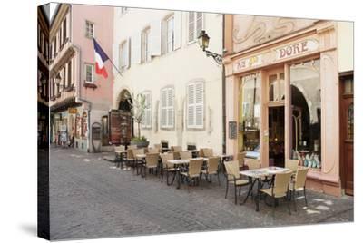 Cafe Au Croissant Dore, Rue Marchands, Colmar, Alsace, France, Europe-Markus Lange-Stretched Canvas Print