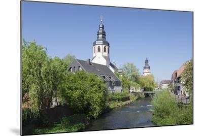 St. Martinskriche Church on River Alb and Town Hall, Ettlingen, Baden-Wurttemberg, Germany-Markus Lange-Mounted Photographic Print