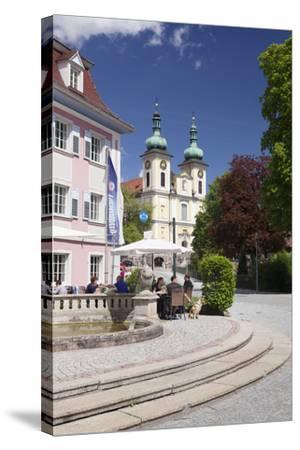 Street Cafe, St. Johann Church, Donaueschingen, Black Forest, Baden Wurttemberg, Germany-Markus Lange-Stretched Canvas Print