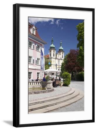 Street Cafe, St. Johann Church, Donaueschingen, Black Forest, Baden Wurttemberg, Germany-Markus Lange-Framed Photographic Print