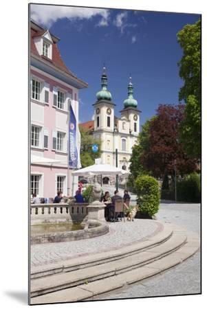 Street Cafe, St. Johann Church, Donaueschingen, Black Forest, Baden Wurttemberg, Germany-Markus Lange-Mounted Photographic Print