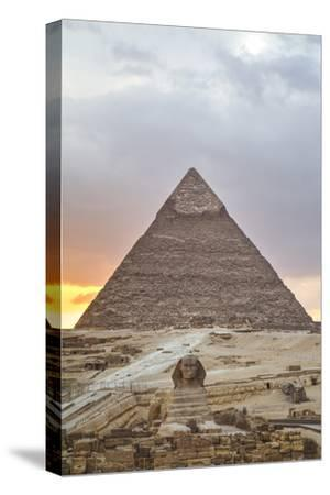 Sunset, Sphinx in Foreground and the Pyramid of Chephren, the Pyramids of Giza-Richard Maschmeyer-Stretched Canvas Print