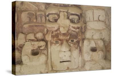 Stone Mask of Mayan Sun God Kinichna-Richard Maschmeyer-Stretched Canvas Print