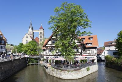 View over Wehrneckarkanal Chanel to St. Dionysius Church (Stadtkirche St. Dionys)-Markus Lange-Premium Photographic Print