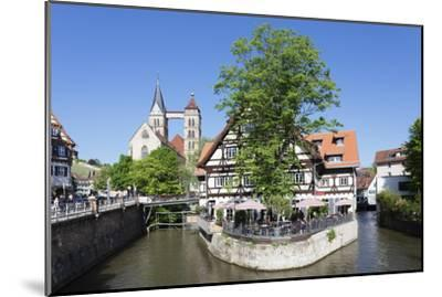View over Wehrneckarkanal Chanel to St. Dionysius Church (Stadtkirche St. Dionys)-Markus Lange-Mounted Photographic Print