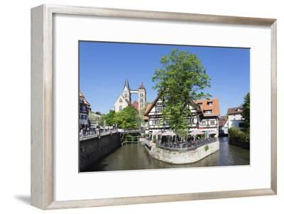 View over Wehrneckarkanal Chanel to St. Dionysius Church (Stadtkirche St. Dionys)-Markus Lange-Framed Photographic Print