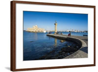 The Old Agios Nikolaos Fortress, Mandraki Harbour, Rhodes Town, Dodecanese Islands, Greek Islands-Michael Runkel-Framed Photographic Print