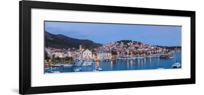 Elevated View over the Picturesque Harbour Town of Hvar, Hvar, Dalmatia, Croatia-Doug Pearson-Framed Photographic Print