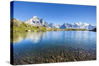 Mont Blanc from Lac Des Cheserys, Haute Savoie. French Alps, France-Roberto Moiola-Stretched Canvas Print