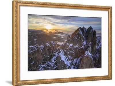 Aerial Shot of Sassolungo at Sunset-Roberto Moiola-Framed Photographic Print