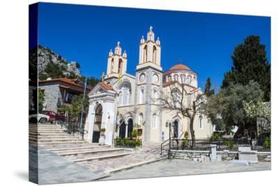 Church in Sianna Village, Rhodes, Dodecanese Islands, Greek Islands, Greece-Michael Runkel-Stretched Canvas Print