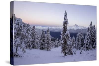 The Autumn Snowy Landscape, Casera Lake, Livrio Valley, Orobie Alps, Valtellina, Lombardy, Italy-Roberto Moiola-Stretched Canvas Print