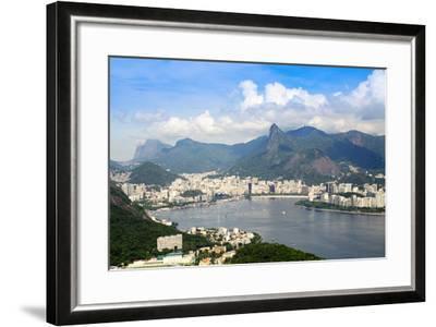 Aerial View of the City and Serra Da Carioca Mountains with Botafogo Bay-Alex Robinson-Framed Photographic Print
