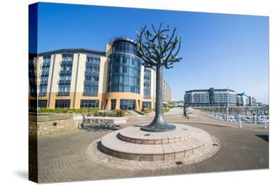 Modern Sculpture in the Harbour of St. Helier, Jersey, Channel Islands, United Kingdom, Europe-Michael Runkel-Stretched Canvas Print