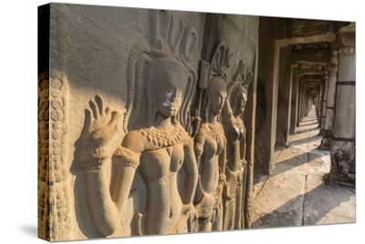 Bas-Relief Carvings of Apsara, Angkor Wat, Angkor, UNESCO World Heritage Site, Siem Reap, Cambodia-Michael Nolan-Stretched Canvas Print