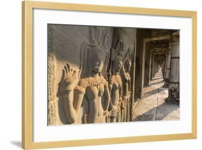 Bas-Relief Carvings of Apsara, Angkor Wat, Angkor, UNESCO World Heritage Site, Siem Reap, Cambodia-Michael Nolan-Framed Photographic Print