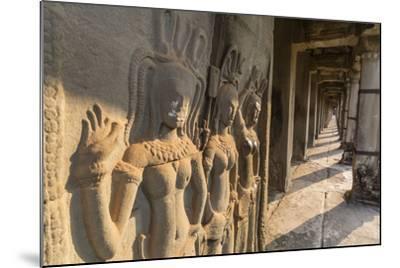 Bas-Relief Carvings of Apsara, Angkor Wat, Angkor, UNESCO World Heritage Site, Siem Reap, Cambodia-Michael Nolan-Mounted Photographic Print